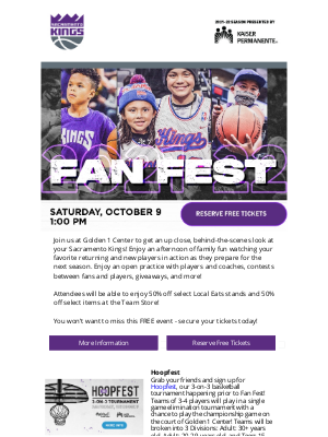 Sacramento Kings - Claim Your Free Tickets to Fan Fest