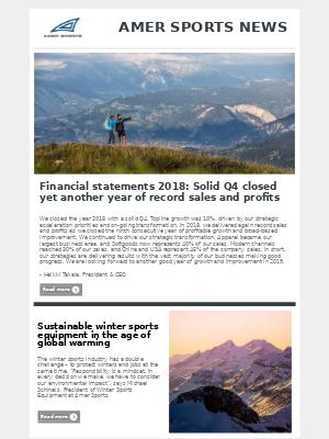 Amer Sports - Amer Sports Investor Relations Newsletter January - February 2019