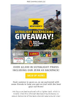 Mountainsmith - GIVEAWAY! $2,00 in Ultralight Backpacking Gear