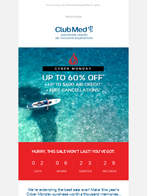 Club Med - Cyber Monday: up to 60% off Extended!