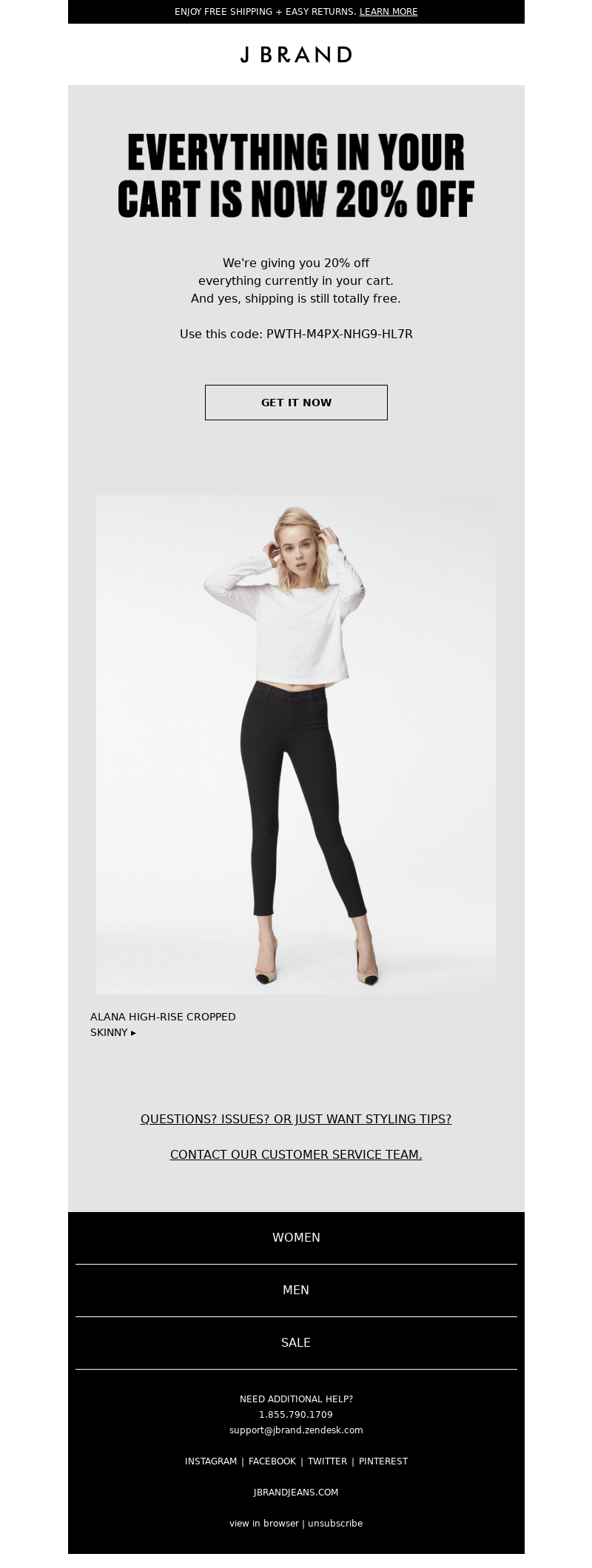 J BRAND - Get 20% Off Your Shopping Cart NOW