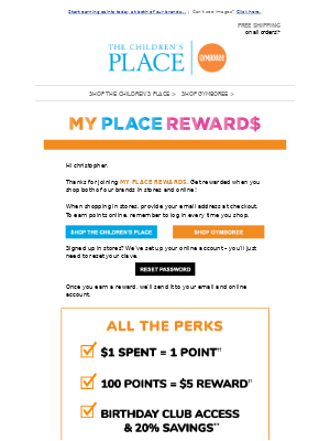 Gymboree - Welcome to My Place Rewards!