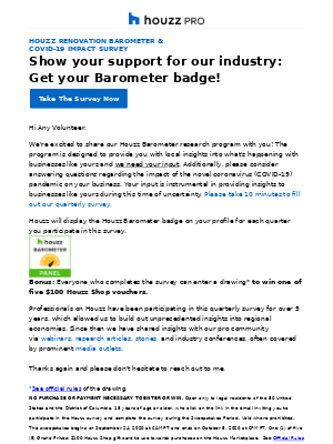 Houzz - Houzz Barometer: Take our industry survey, get a badge