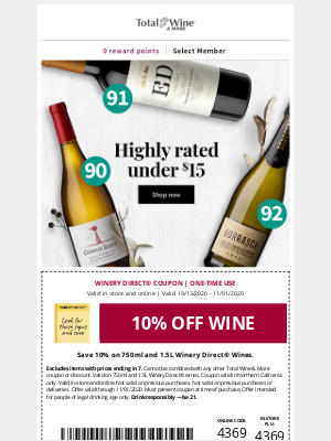 Total Wine & More - Coupon on Highly-rated Wines Under $15