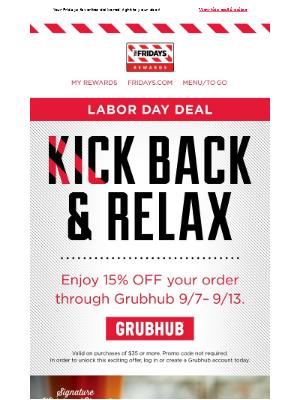 TGI Fridays - 15% Off Fridays Delivery Through Grubhub