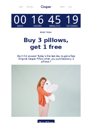 Ends tonight: Buy 3 pillows, get 1 free