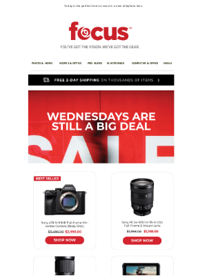 Focus Camera - Save up to $200 on Sony and Sigma Lenses