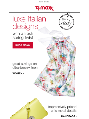 Made in Italy. Stunning spring fashion.