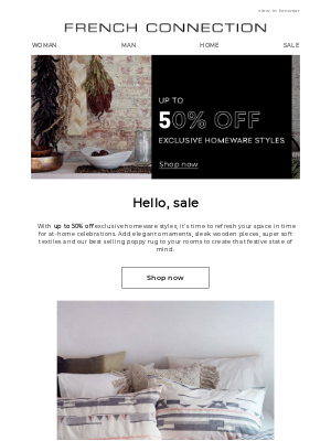 Up to 50% off   Exclusive homeware
