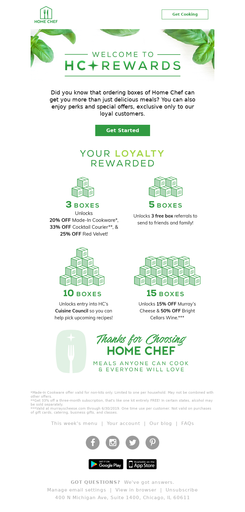 Home Chef - Get rewarded for your Home Chef loyalty!