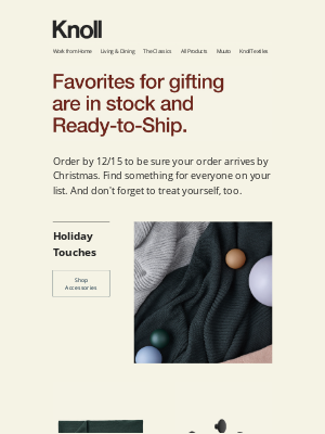Knoll - Get it by Christmas 🎁 Shop Ready-to-Ship Gifts Today.