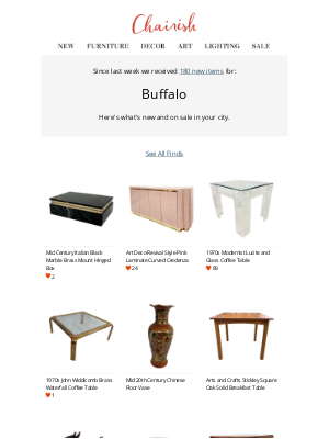 Chairish - Virtually support Buffalo's local sellers: See 180 new arrivals today