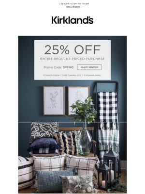 Kirkland's - Add Some Cozy to Your Space + 25% OFF Ends Tomorrow!!