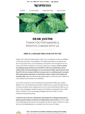 Nespresso (UK) - Our CEO's commitments to create a positive impact