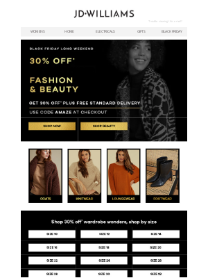 Don't miss out! 30% off ALL fashion & beauty, with free delivery!