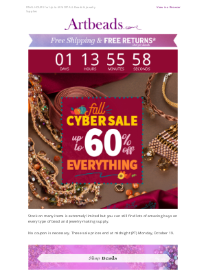 Artbeads - 38 HOURS LEFT! Up to 60% Off Fall Cyber Sale Ends Soon