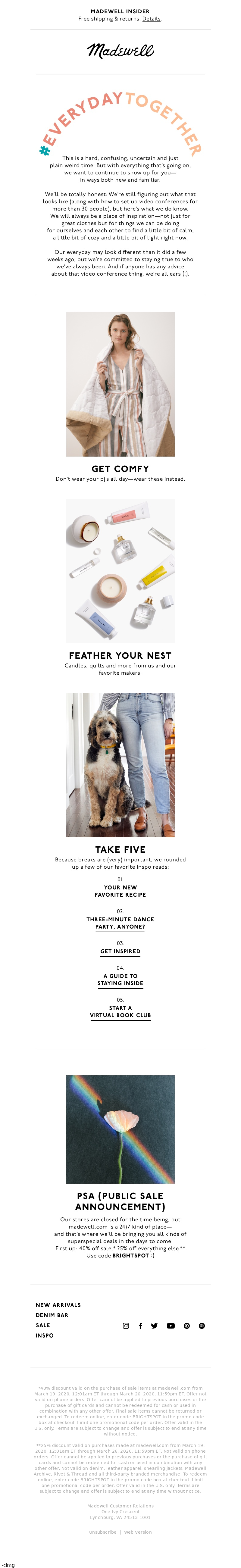Free shipping for Madewell Insiders instagram facebook twitter youtube newa