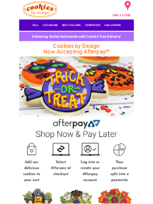 Cookies by Design - AfterPay Now Available for Cookie Delivery!