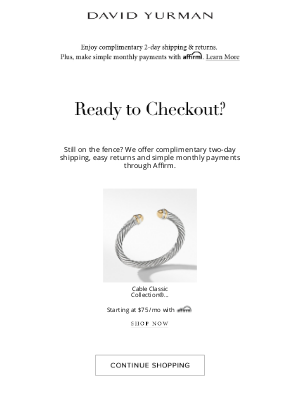 David Yurman - You left this behind! Don't miss out...