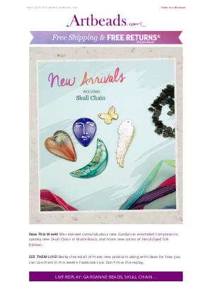 Artbeads - What's New?  We've Got Gardanne Beads, Skull Chain & Silk Ribbon