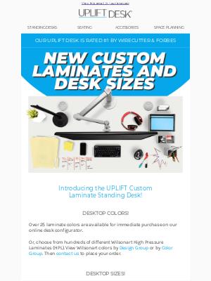 Uplift Desk - New Custom Laminates and Desk Sizes