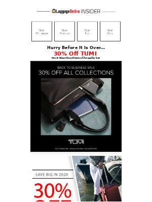 LuggageOnline - SAVE 30% Off Tumi New and Discontinued Items