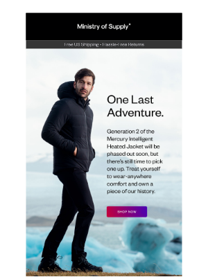 Ministry of Supply - Last Chance: Mercury Intelligent Heated Jacket is Almost Out of Stock. ❄