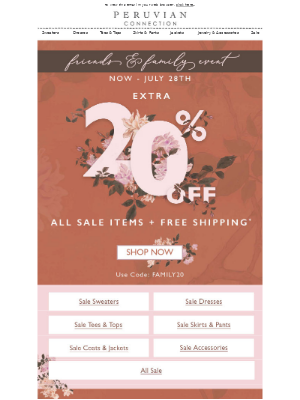 Don't Forget! Extra 20% off Sale + FREE SHIPPING