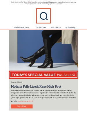 QVC (UK) - See Today's Special Value Pre-Launch: Moda in Pelle Lizeth Knee High Boot