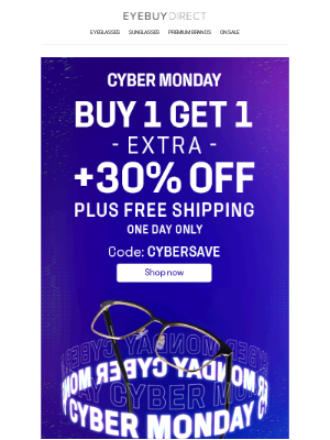 EyeBuyDirect - ⏰ Buy 1 Get 1 + 30% OFF + Free Shipping ⏰ Save while you can!