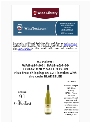 Wine Library - One day sale. Great with Food or by itself! This is the perfect Summer White wine for $19.99.