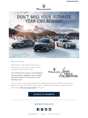 Maserati North America - Don't miss your limited-time Maserati offer.