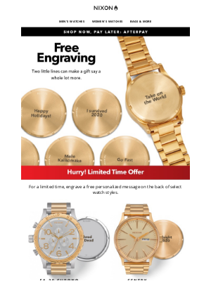 Nixon - FREE Engraving // Don't Miss Out!