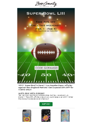 Take 20% Off! 🏈 Super Bowl, Super Weekend 🏈