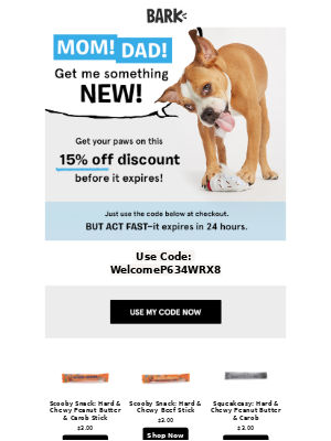 BarkShop - Your 15% off code is about to expire!