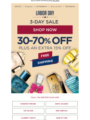 FragranceX - Labor Day Flash Sale This Weekend Only