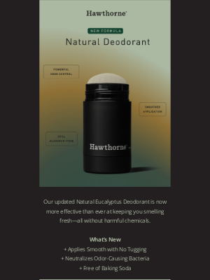 Hawthorne - New Formula: Our Eucalyptus Deodorant Works, Period