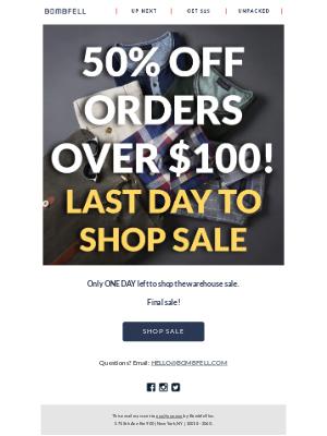 Bombfell - 50% Off Warehouse Sale- Final Hours!