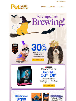 Pet Supermarket - 🎃 30% Off ALL Halloween Costumes/Accessories & Other Great Savings!