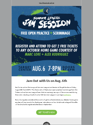 Minnesota Timberwolves and Lynx - Reminder: Join Us for the Summer League Jam Session!
