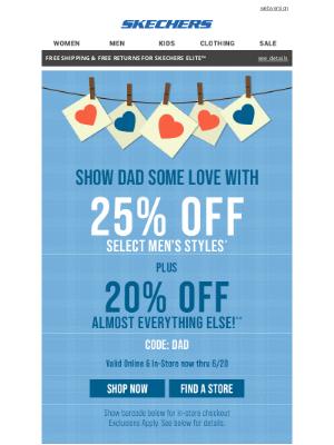 SKECHERS - Celebrate Dad! Take 25% off select men's styles