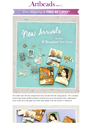 Artbeads - 40+ New Arrivals: Sterling Silver, Russian Artist Beads, TierraCast Paw Charms