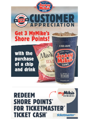 Jersey Mikes - Customer Appreciation Is Back! Get 3 MyMike's Shore Points