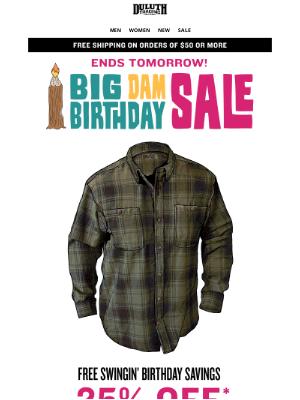 Duluth Trading Company - 25% OFF Free Swingin' Flannels - A Birthday Price Chop!