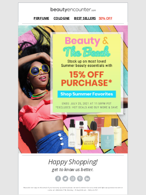 Beauty Encounter - Cool down with 15% off most loved Summer Beauty!*