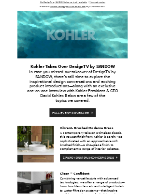 Kohler Co. - In case you missed it: Kohler Takes Over DesignTV