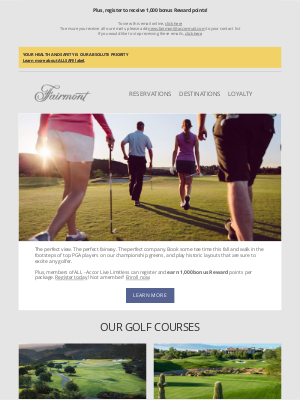Fairmont Hotels - Enjoy some sunny tee time this fall, Amy