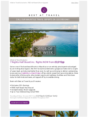 Best At Travel (UK) - Offer Of The Week 💜 One&Only Le Saint Géran