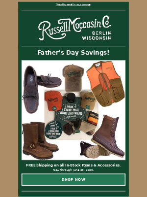 Russell Moccasin Co. - Father's Day Savings!