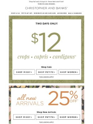 Christopher & Banks - $12 crops, capris, and cardis, oh my!